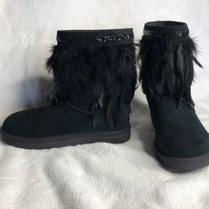 Ugg black authentic with Feathers and beads